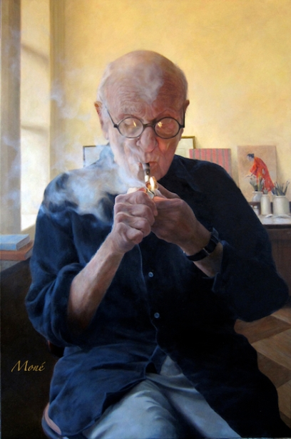 N.Mone_Blowing SmokePortrait of Aaron Shikler copy
